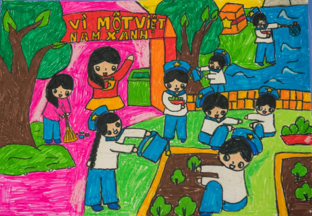 """Cùng chiêm ngưỡng một số tác phẩm thể hiện rõ nét chủ đề """"Vì một Việt Nam xanh""""."""