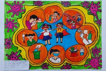 Thiếu nhi thi vẽ tranh về phòng chống dịch bệnh Covid - 19